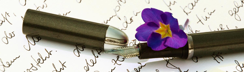 offener Füller mit lila Blume